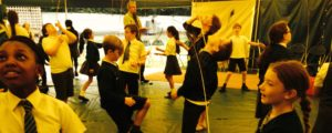 A Circus Skills workshop in one of our Big Tops at a school in Chester