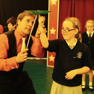 A Circus skills workshop at a school in Cirencester with School Circus