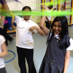A Circus skills workshop in a school in Luton
